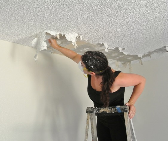 Asbestos popcorn ceiling for How to remove popcorn ceiling without water